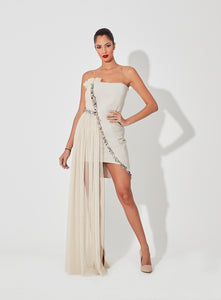 Sheer Tulle Pleats Blended with Metal Embellished Two Length Dress