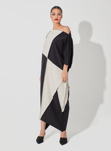 Two Toned Pique Patched Kaftan loose Geometrical Cut