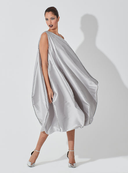 One Shoulder Raw Silk Geometrical Panelled Dress with Crytal Embellished on Full Edges