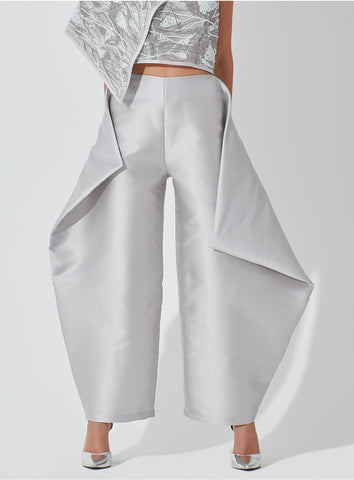 Wide Raw Silk Geometrical Pants with Overlaping Sides