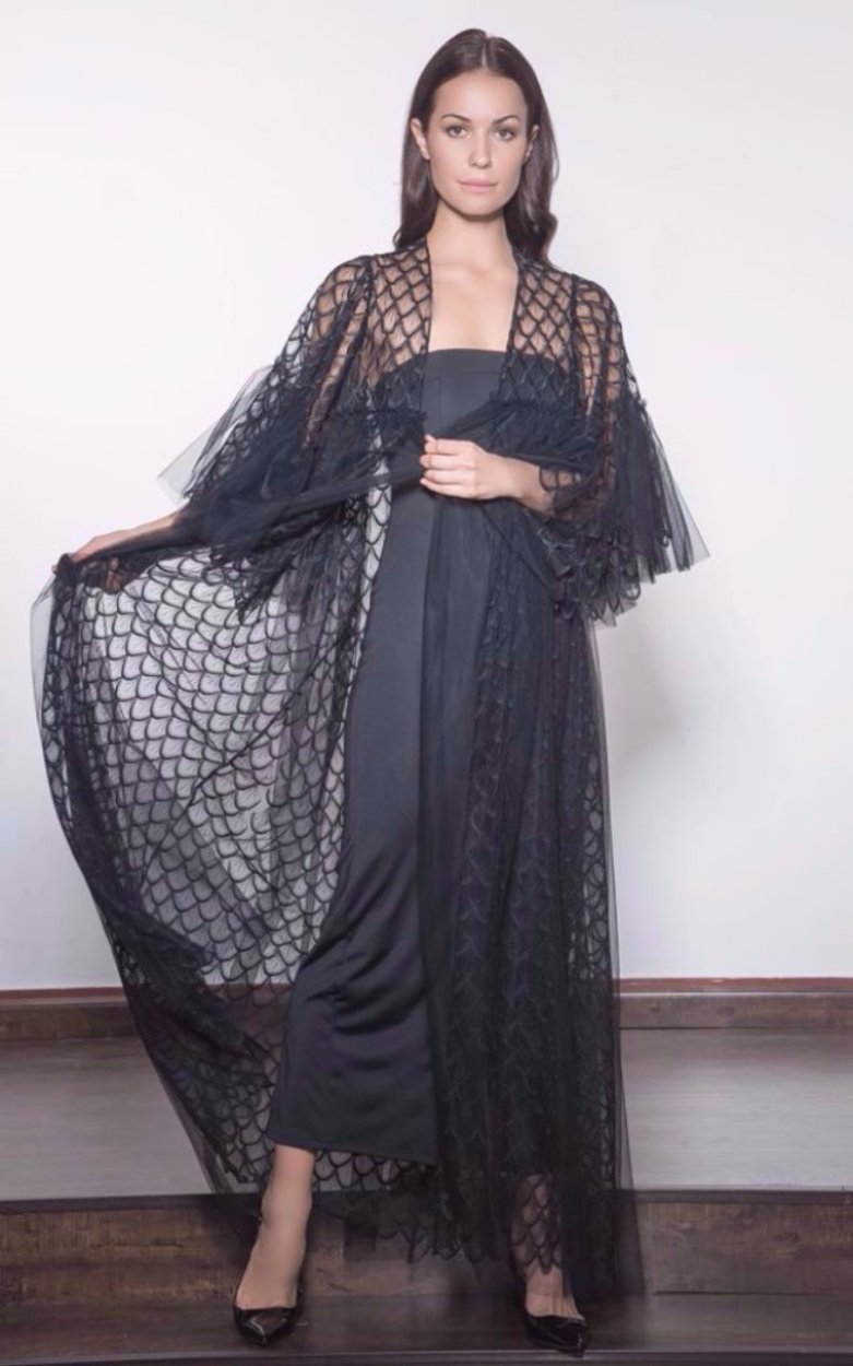 Embroidered Tulle Evening Abaya