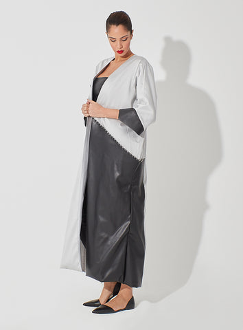 Raw Silk Blended with Leather Abaya Oversized Pockets Embellished on Edge
