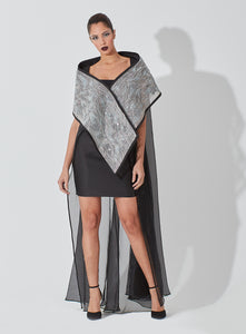 Metallic Collar Crystal Embellishment Organza Cape