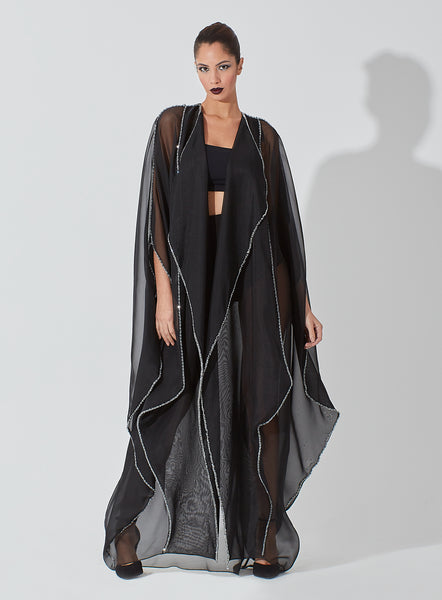 Geometrical Inserted Panels Organza Abaya with Crystal Embellishment on Full Edges