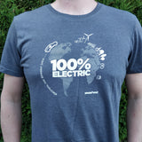 Unisex '100% Electric' T-Shirt (Navy) - SPARK+VOLT