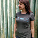 Fitted womens T-Shirt - '100% Electric' (Dark Grey/Green) - SPARK+VOLT