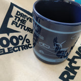 Coffee Mug - Ceramic midnight blue mug with EV's & dinosaur design - SPARK+VOLT