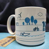 100% Electric Vehicle mug (wind turbine, renewable energy, electric bike)