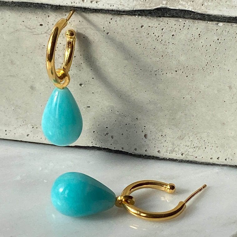 Amazonite Gold Hoops