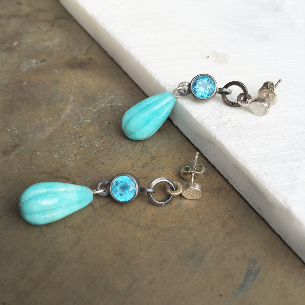 Amazonite & Topaz Drop Earrings