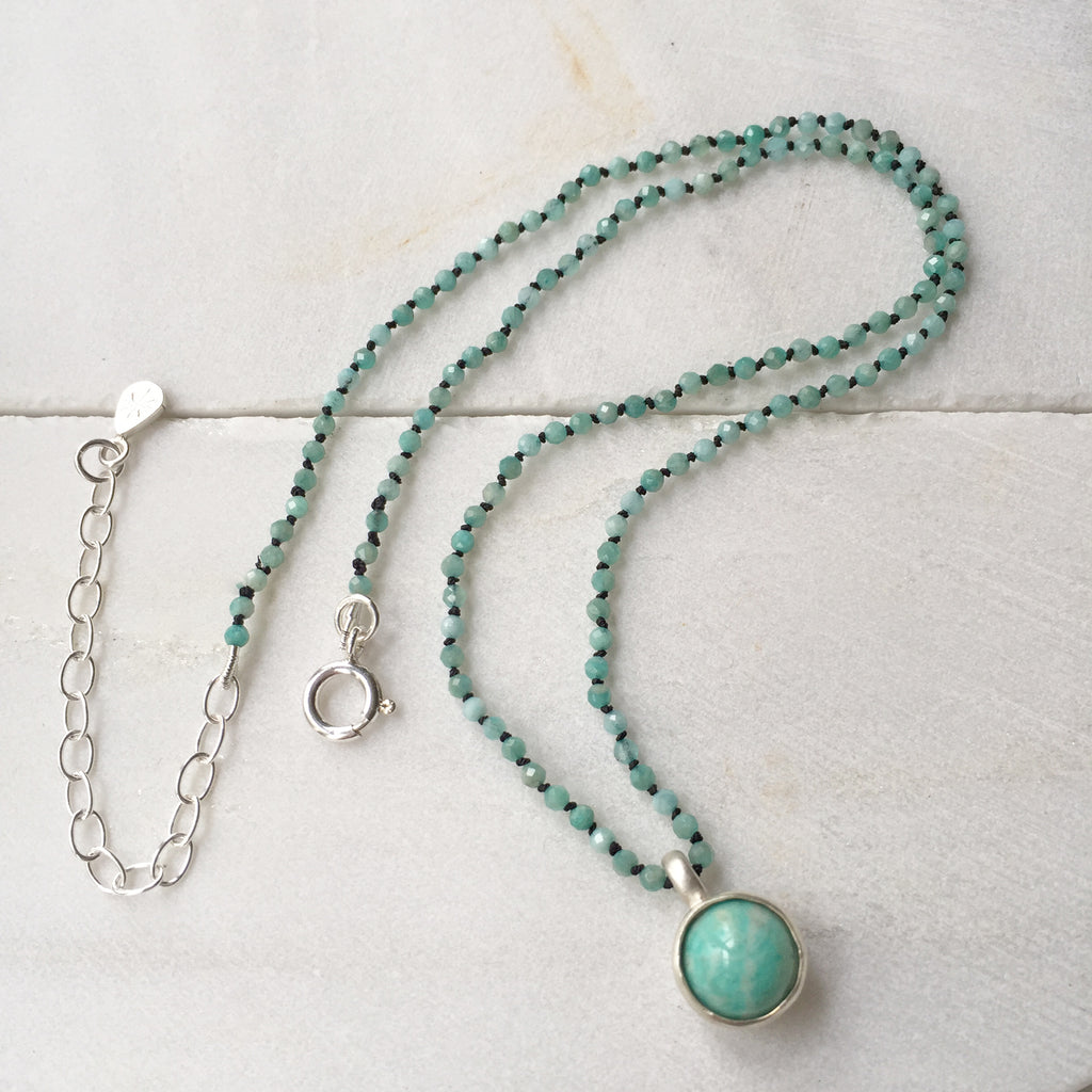 Amazonite Bead Orb Necklace