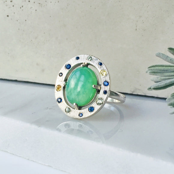 Andean Blue Opal and Mixed Sapphire Ring
