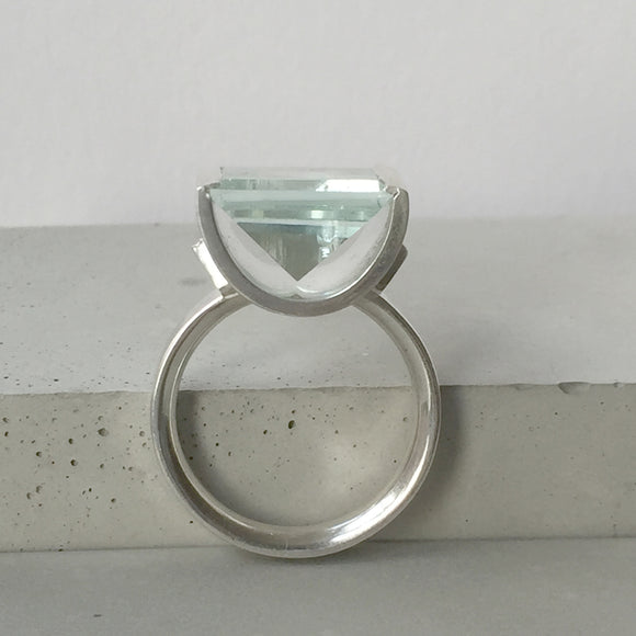 Aquamarine Tabletop Silver Ring