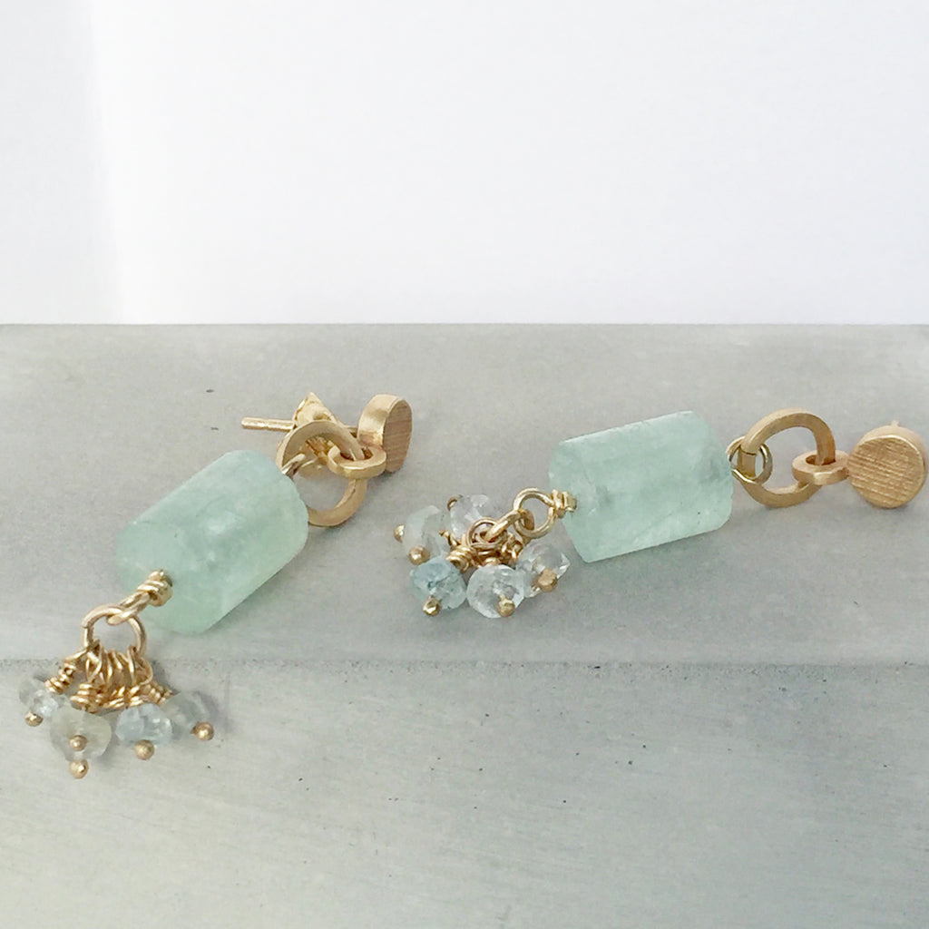 Aquamarine and Gold Earrings