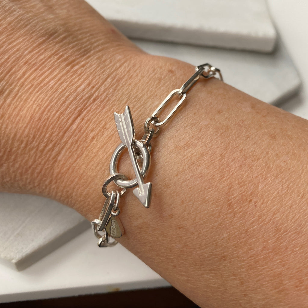 Chain Bracelet with Arrow Silver