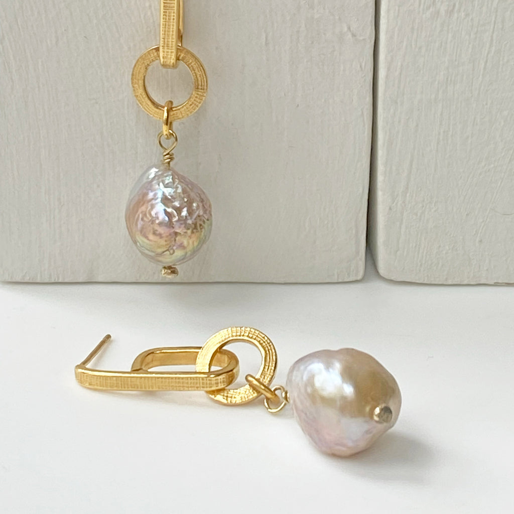 Baroque Pearl Gold Athena Earrings
