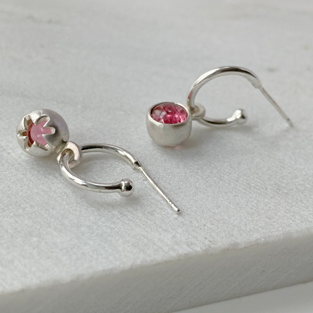 Birthstone Hoops Pink Tourmaline