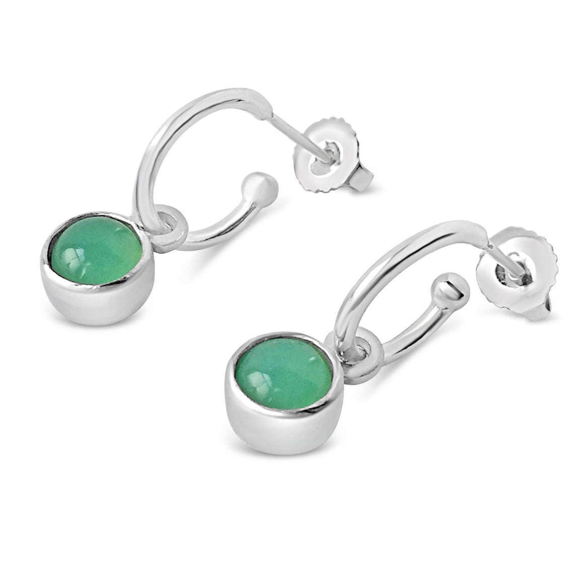 Birthstone Hoop Earrings Chrysoprase