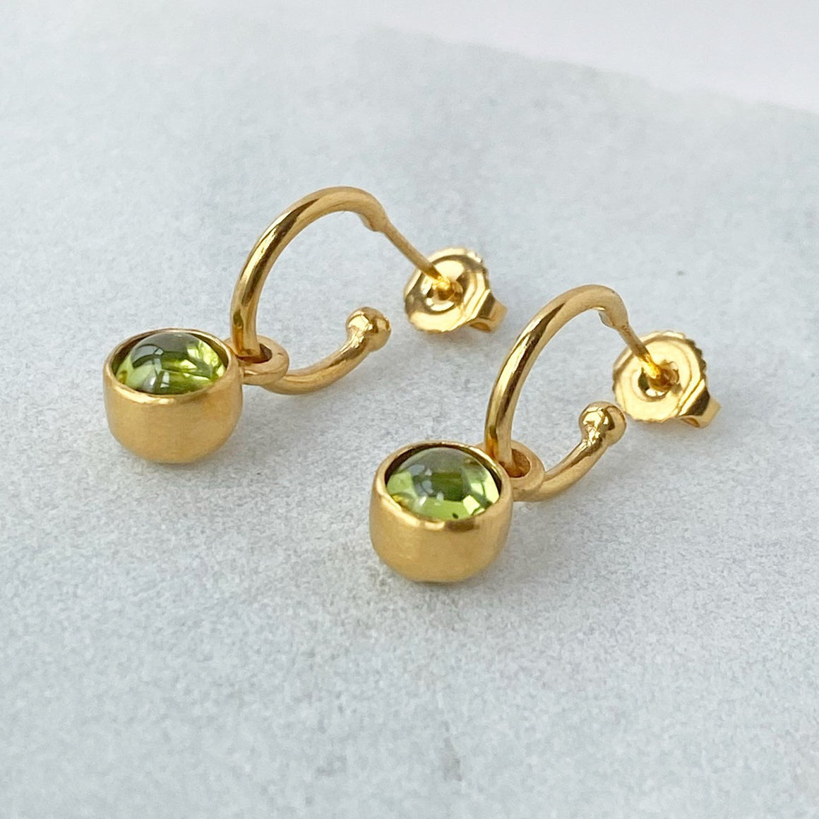 Birthstone Hoop Peridot Earrings Gold