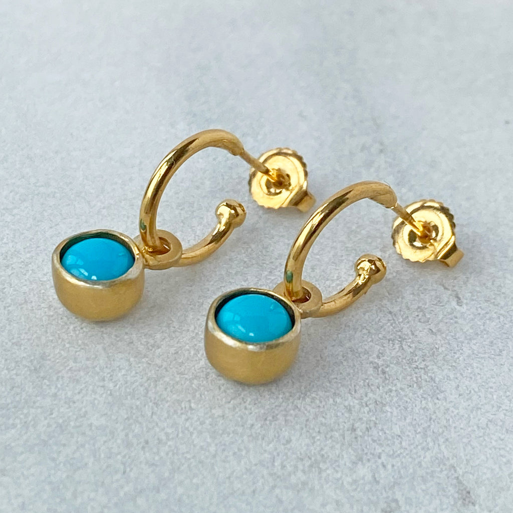 Birthstone Hoops Turquoise Gold