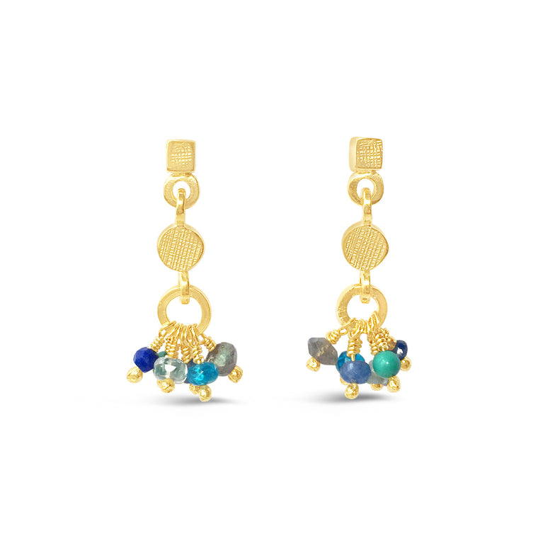Gemstone Rainbow Earrings Blues Gold