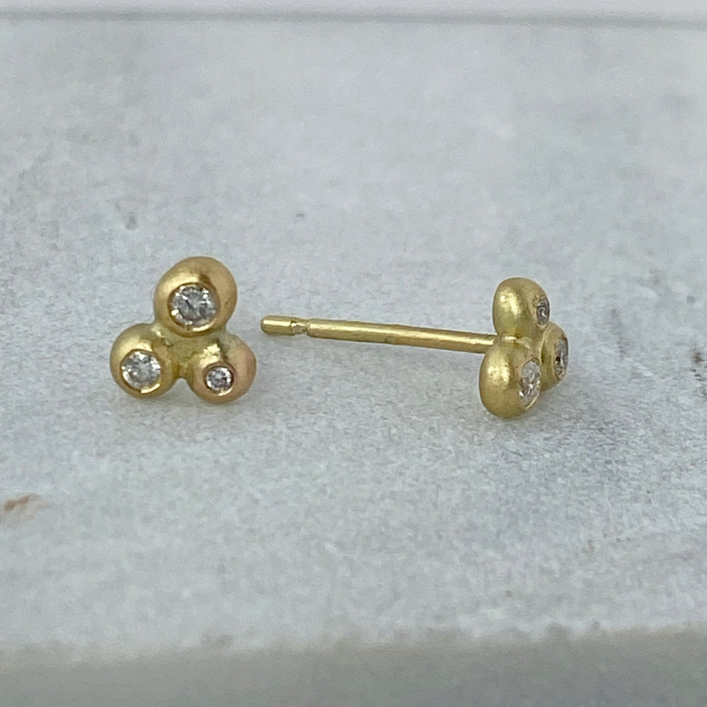 Bubble Gold Diamond Stud Earrings