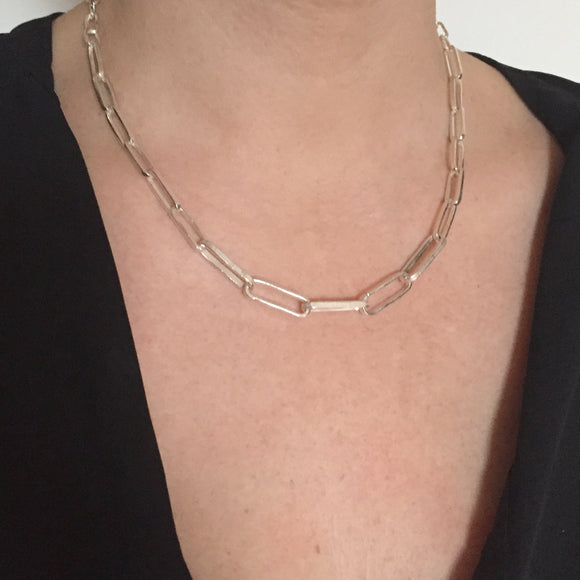Handmade Graduated Chain Necklace Silver