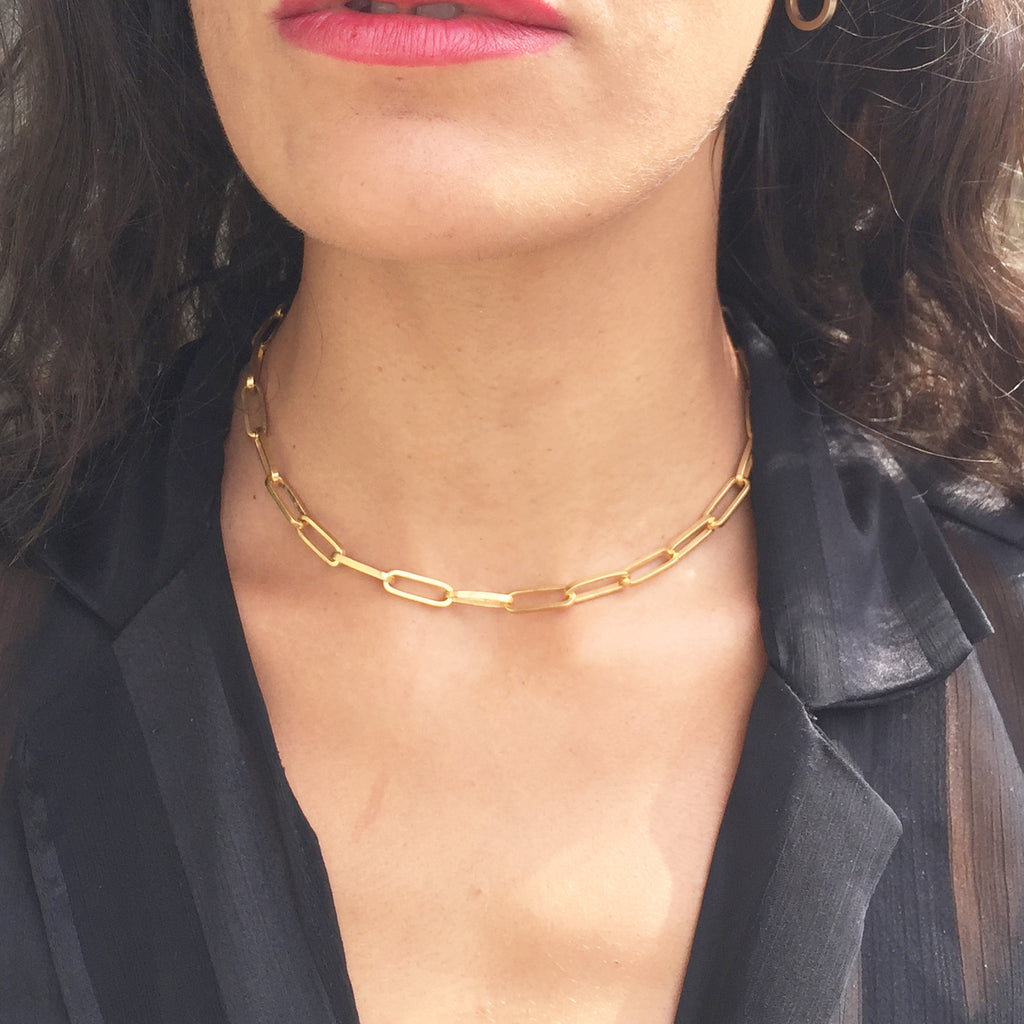 T Bar Handmade Chain Necklace Gold