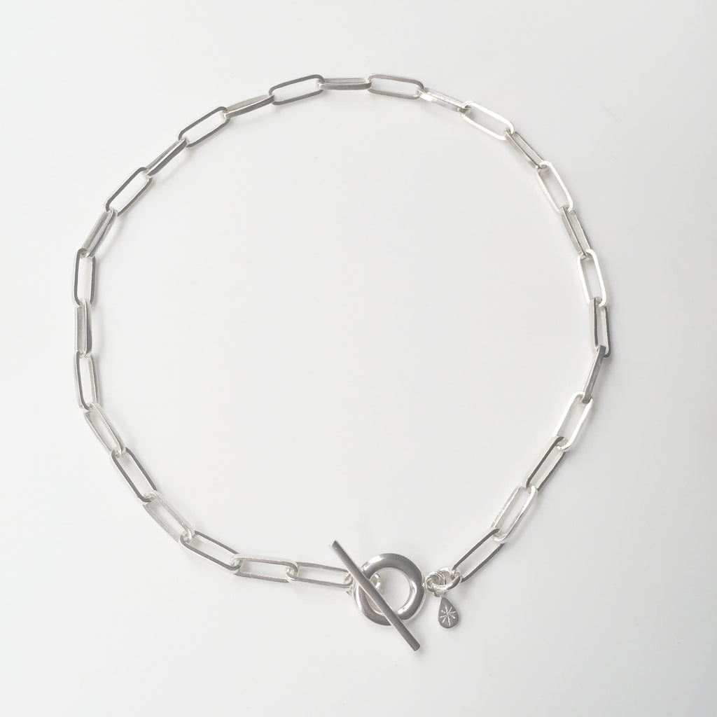 T Bar Handmade Chain Necklace Silver