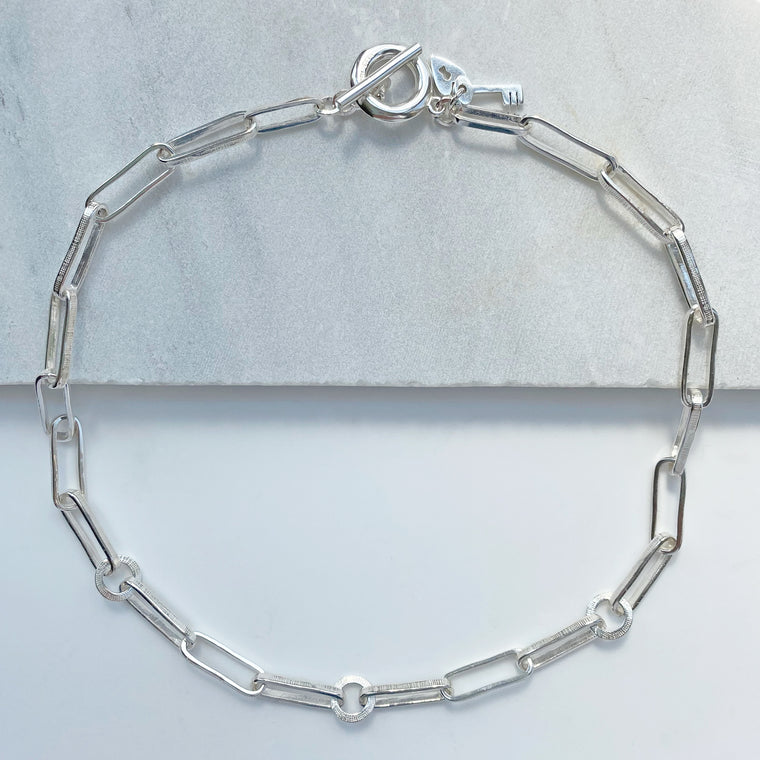 Chunky Textured Handmade Chain Necklace Silver