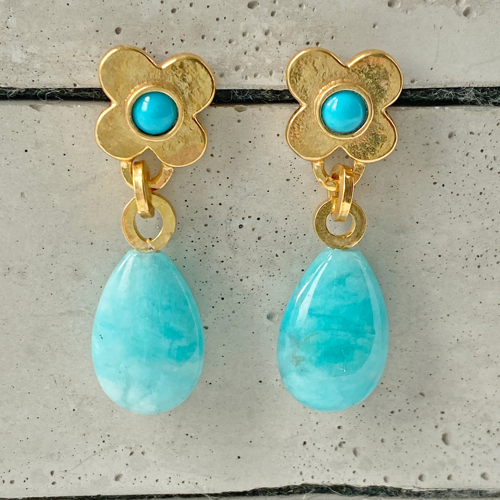 Clover Gold Amazonite and Turquoise Earrings