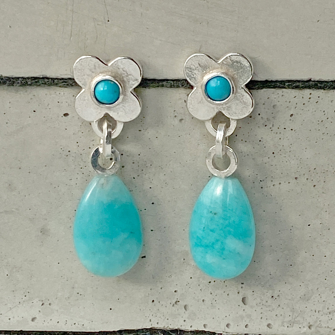 Clover Silver Amazonite and Turquoise Earrings