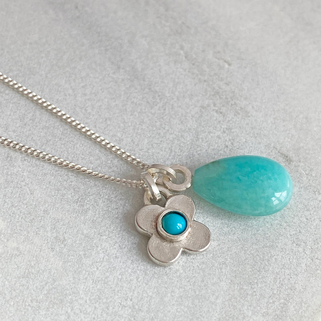 Clover Turquoise and Amazonite Silver Pendant