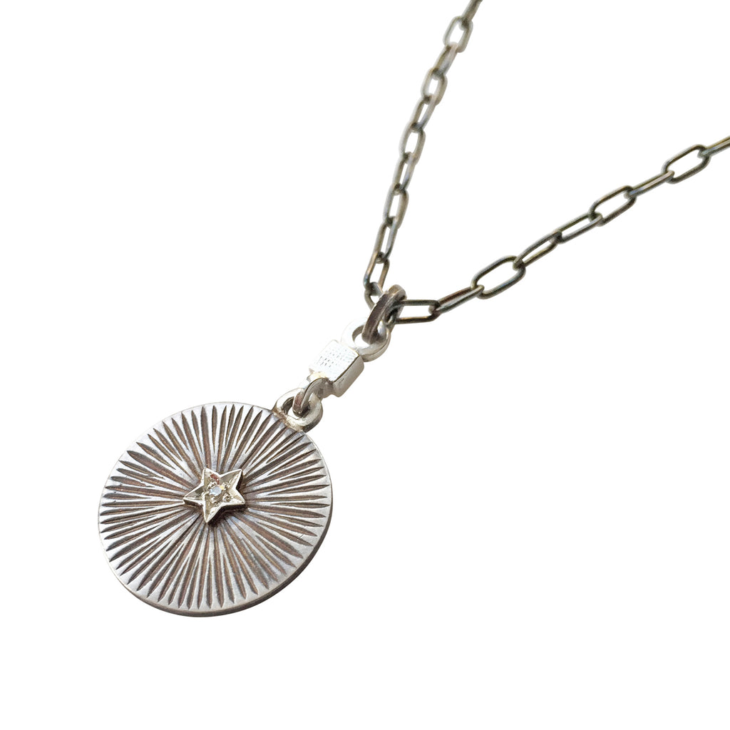 Disc Star & Diamond Oxidised Silver Pendant