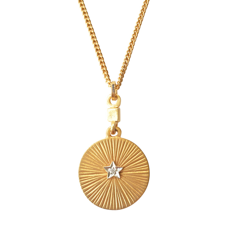 Disc Star & Diamond Gold Pendant