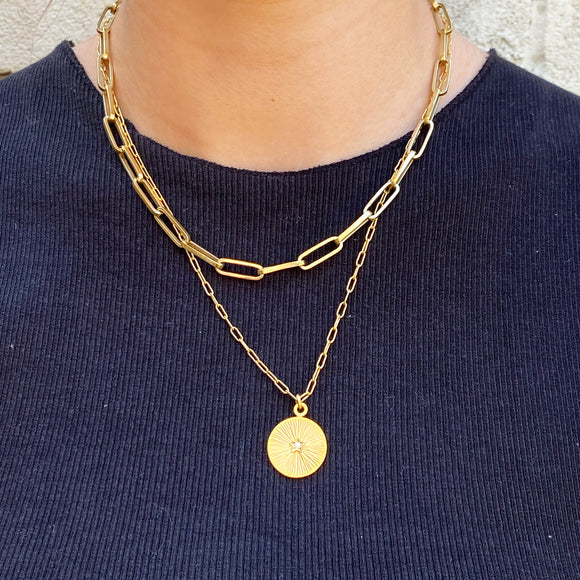 Disc Star & Diamond Pendant Gold Chain