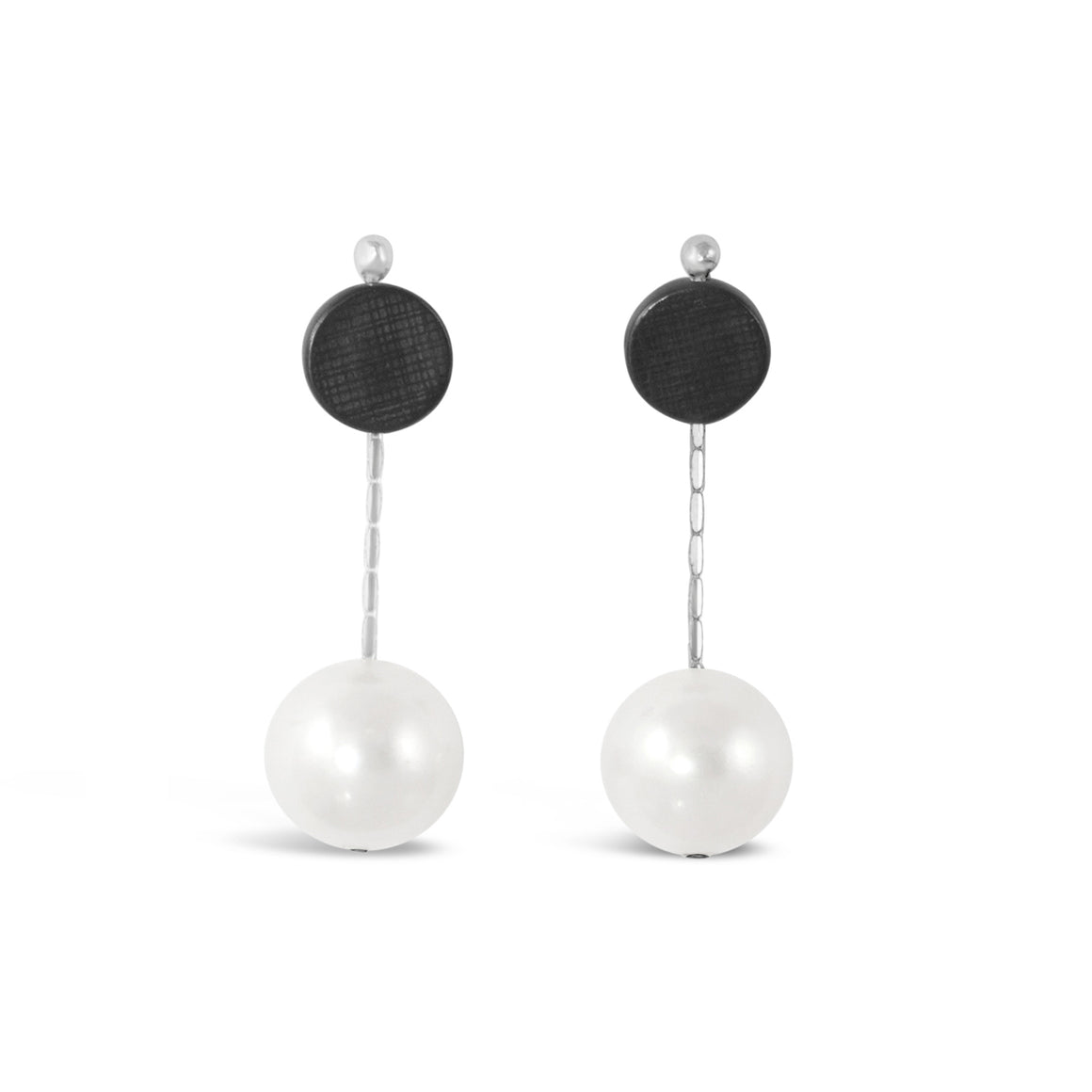 Dot Pearl Earring in Oxidised Silver