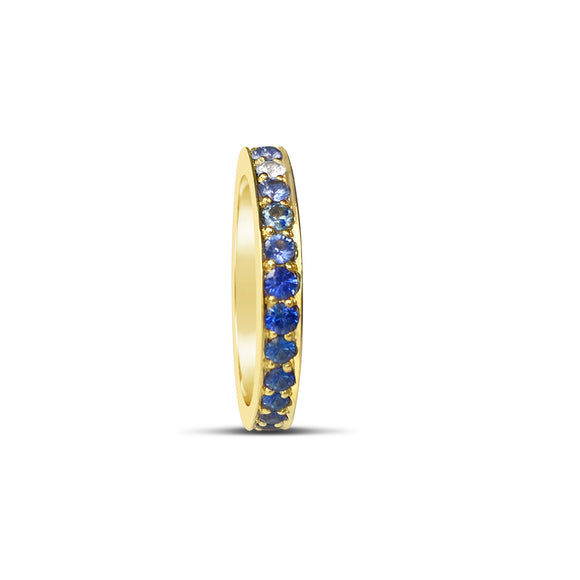 Blue Sapphire Eternity Ring Yellow Gold