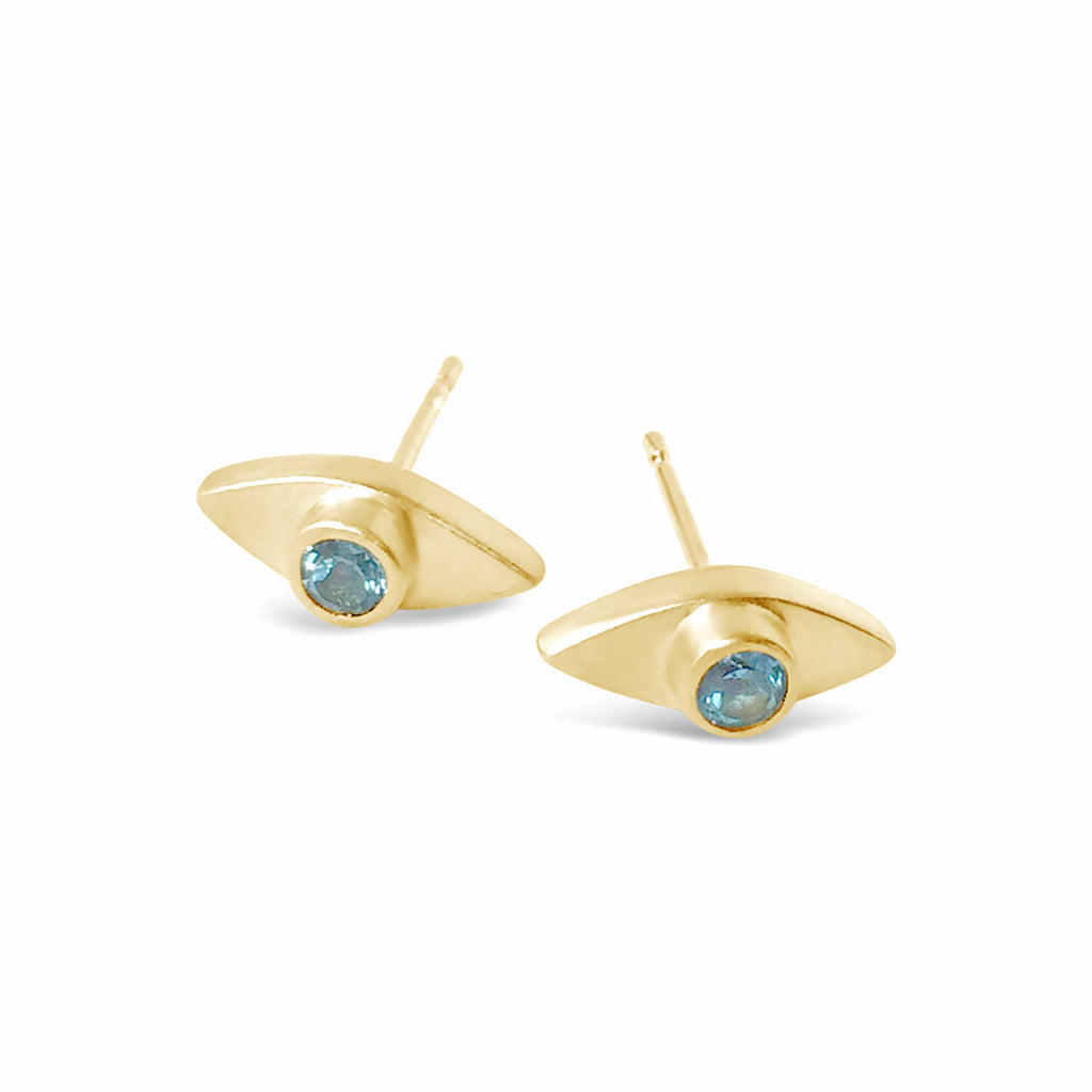 Eye Topaz Earrings Gold