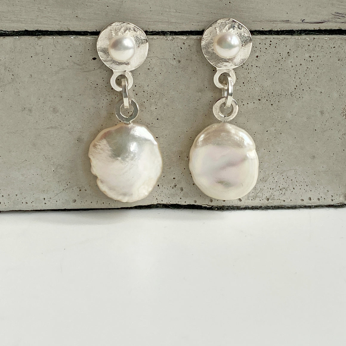 Pearl Molten Silver Drop Earrings