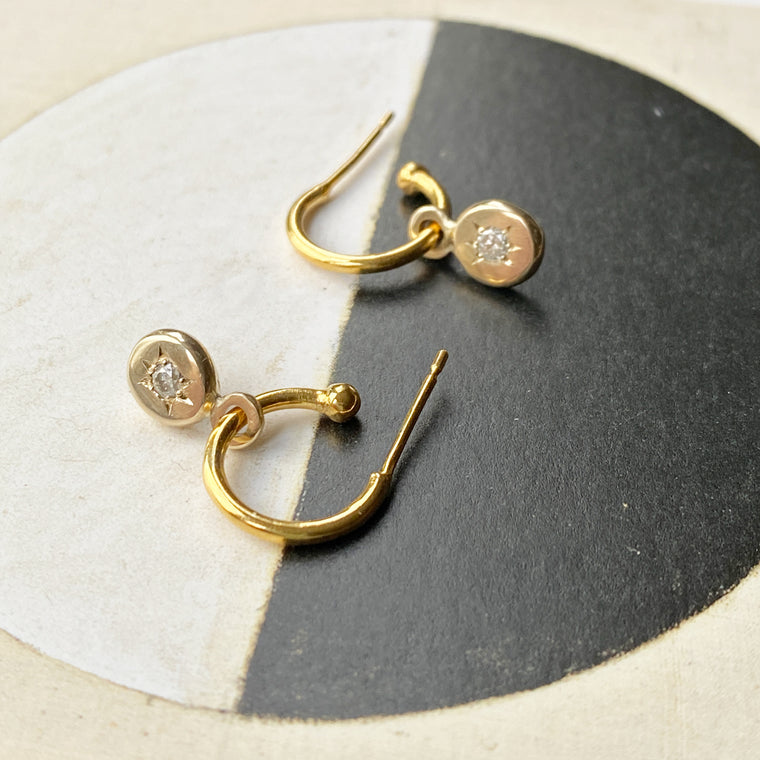 Gold Forever Star Diamond Hoops