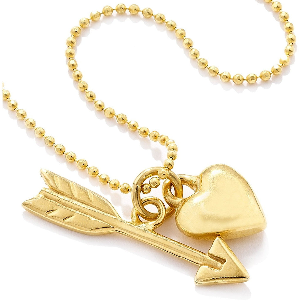 Heart and Arrow Pendant in Gold