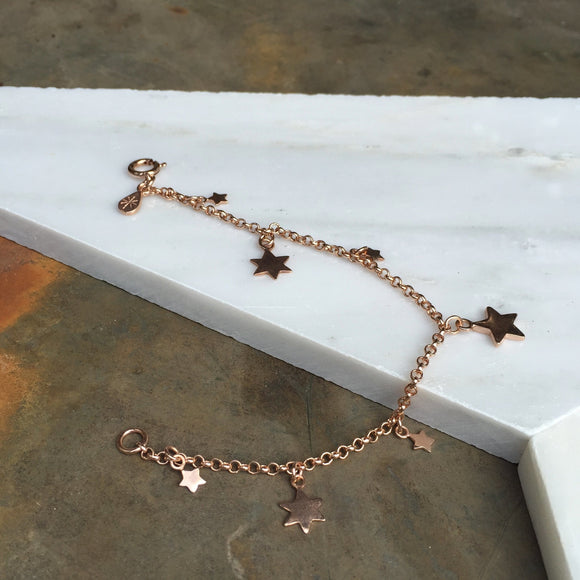 STAR CHARM BRACELET IN ROSE GOLD