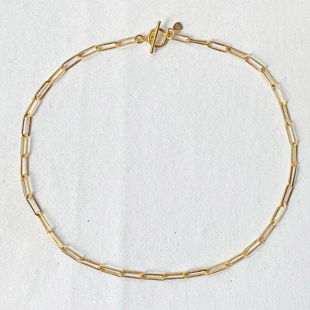 Jane Chain T-bar Gold Necklace