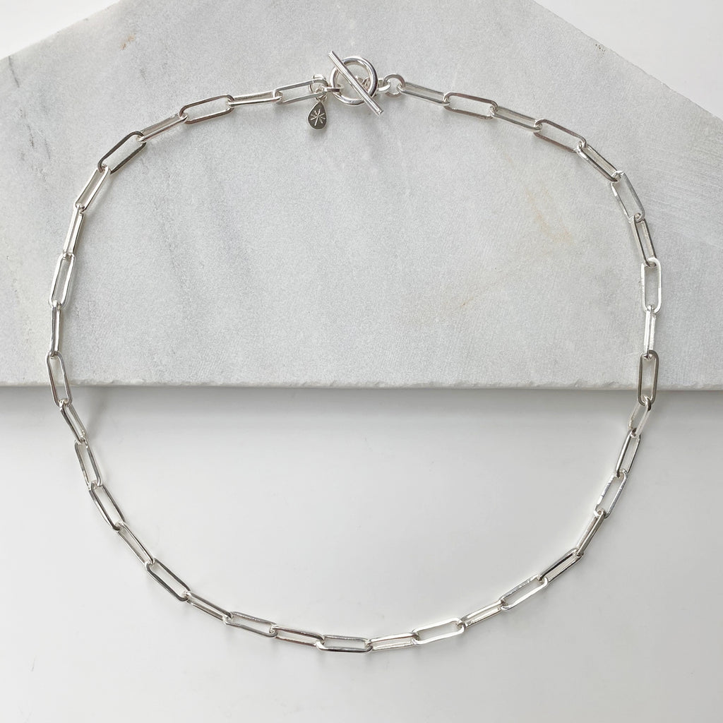 Jane Chain T Bar Silver Necklace