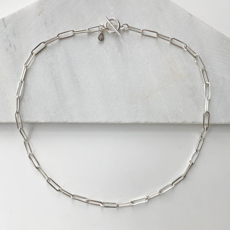 Jane Chain T-bar Silver Necklace