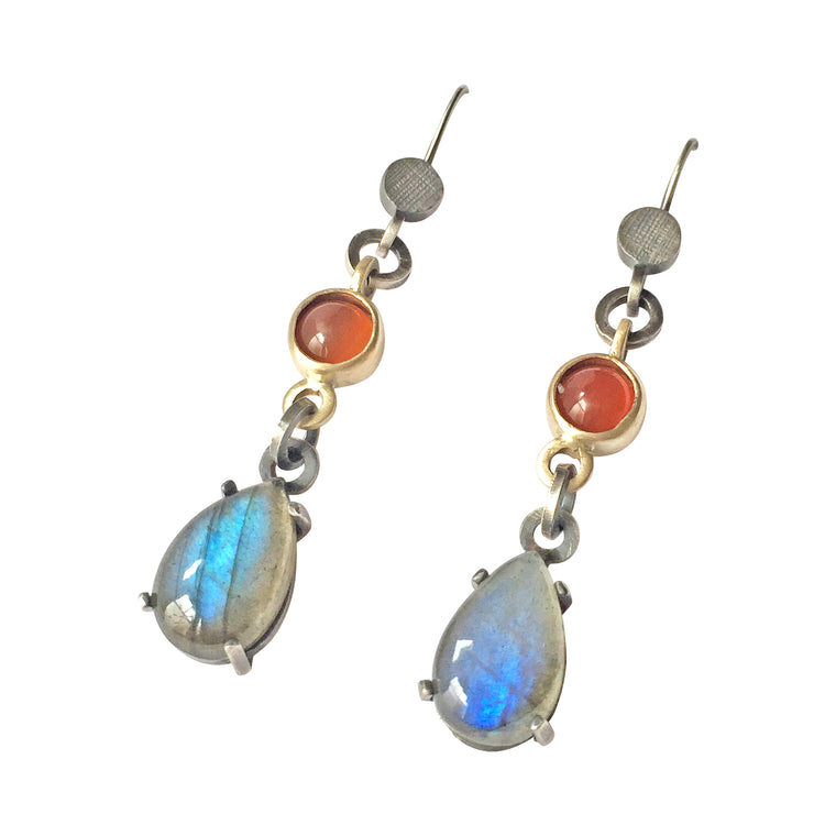 Labradorite Carnealian Drop Earrings