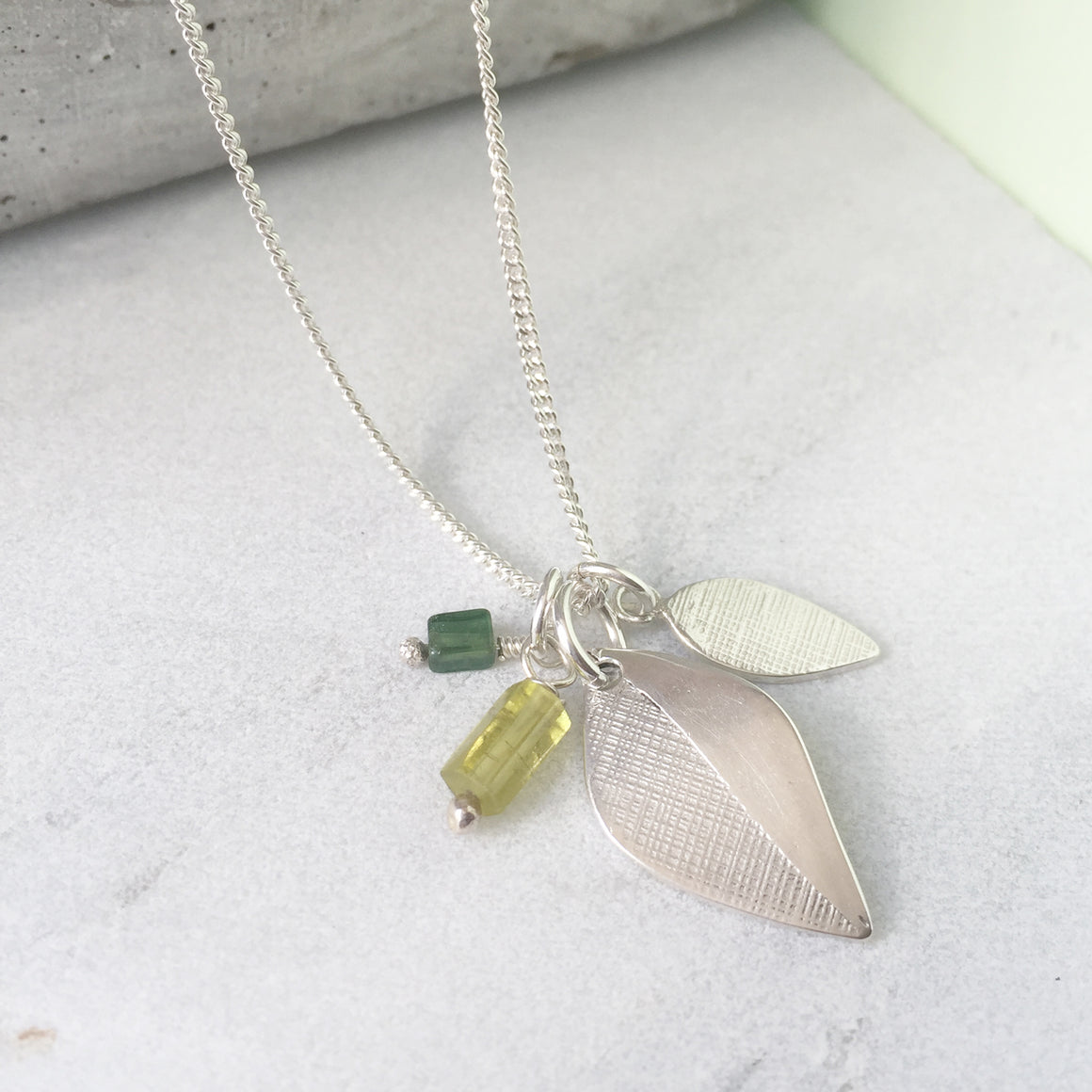 Leaf and Tourmaline Silver Pendant