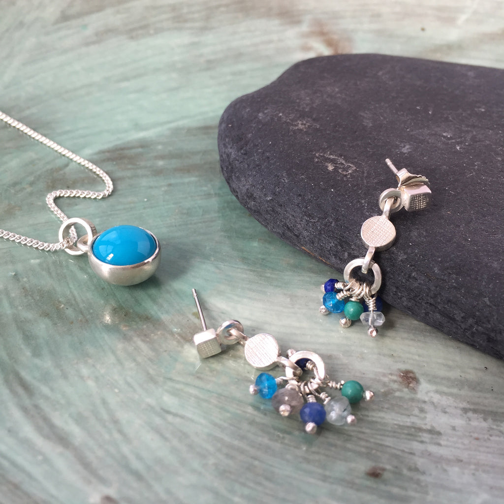 Gemstone Rainbow Earrings Blue silver