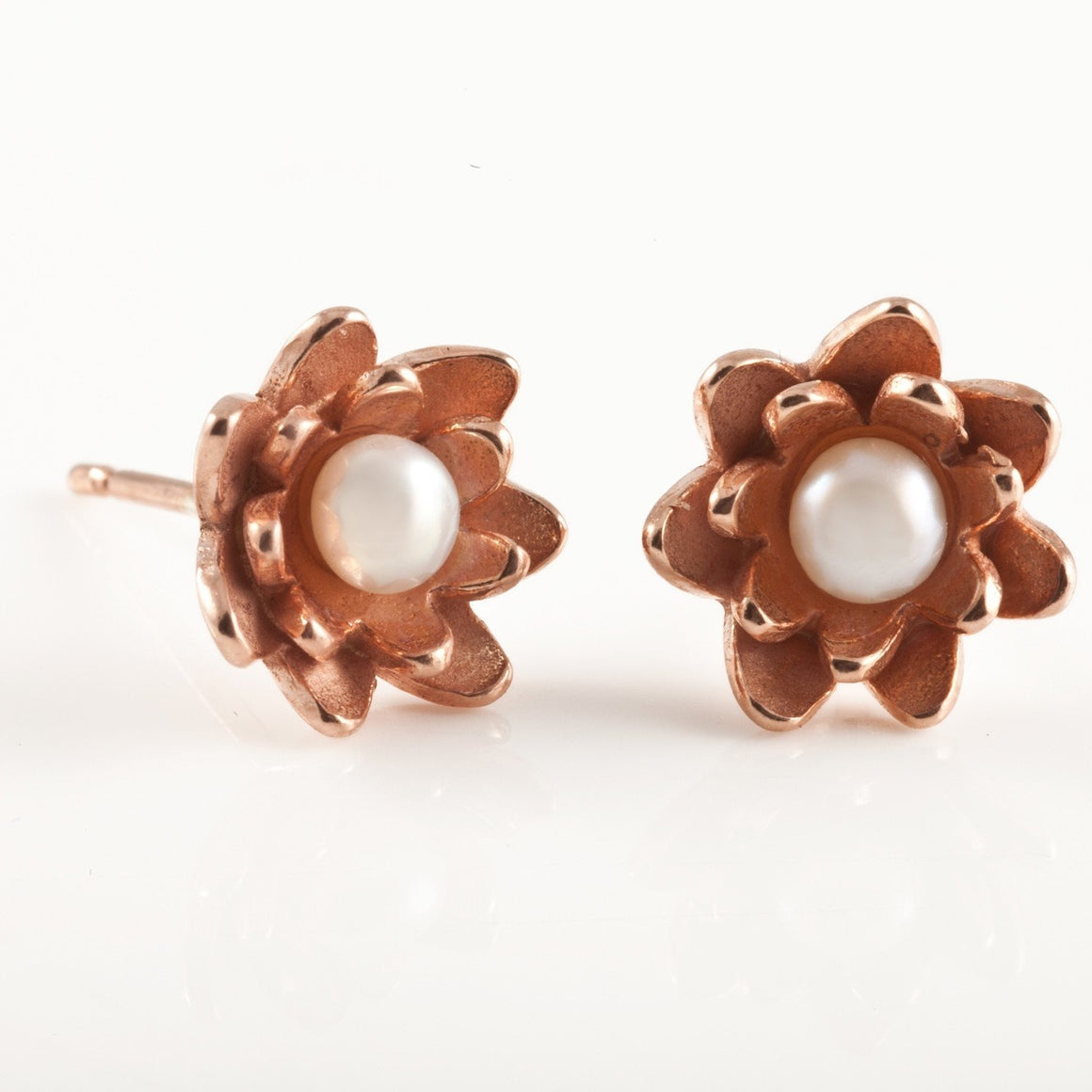 Lotus Earrings in Rose Gold